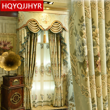 Europe Top luxury royal 3D jacquard Thicken curtains for living room Upscale villa decorated curtain bedroom/Star Hotels