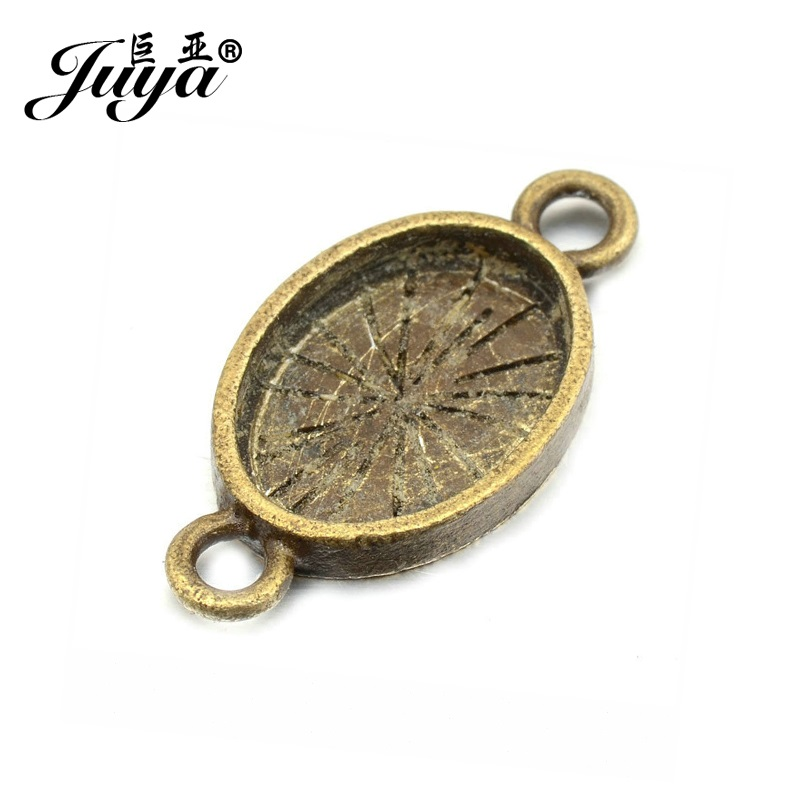 JUYA Oval Cabochon Connector Base Setting 16pcs 10x14mm Zinc Alloy Jewelry Bezels Diy Accessories for Bracelets Making AD0103