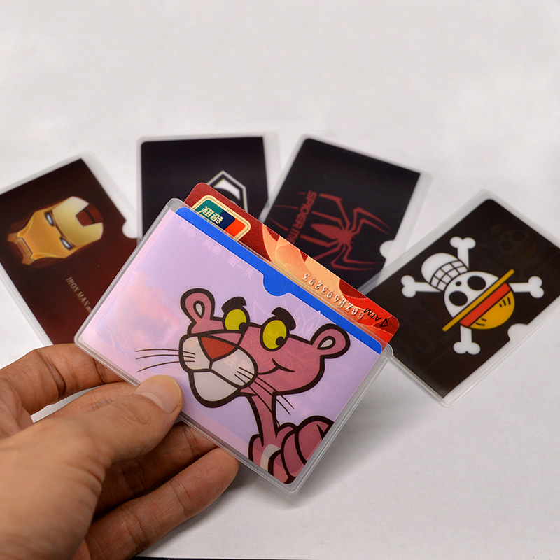 Catoon Waterproof Pink Panther Card Holder Pvc Plastic Card Protective Case To Protect Cards Student Cardholder 2 Card Bit