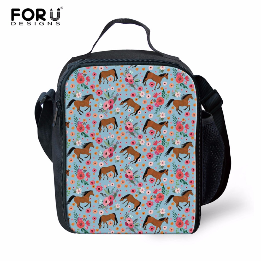 FORUDESIGNS Horse Portable Lunch Bag Insulation Thermal Package Picnic Adult Child Food beverage Fashion Lunch Box Accessories