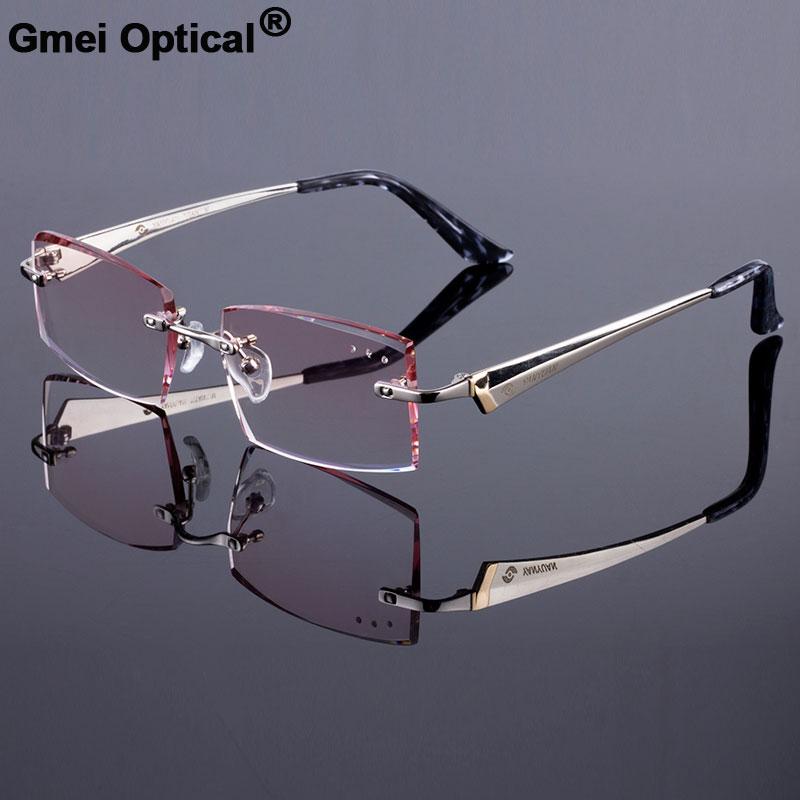1b5a317b5e New Men Rimless Style Frame Women Titanium Alloy Optical Frame Diamond  Trimming Cut Rimless Spectacles With Gradient Tint Lenses