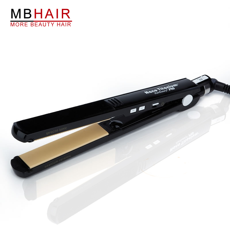 Professional High quality Titanium Ceramic Hair Straightening Hair Straightener Iron Black-Free shipping simple v neck cap sleeve pure color spliced blouse for women