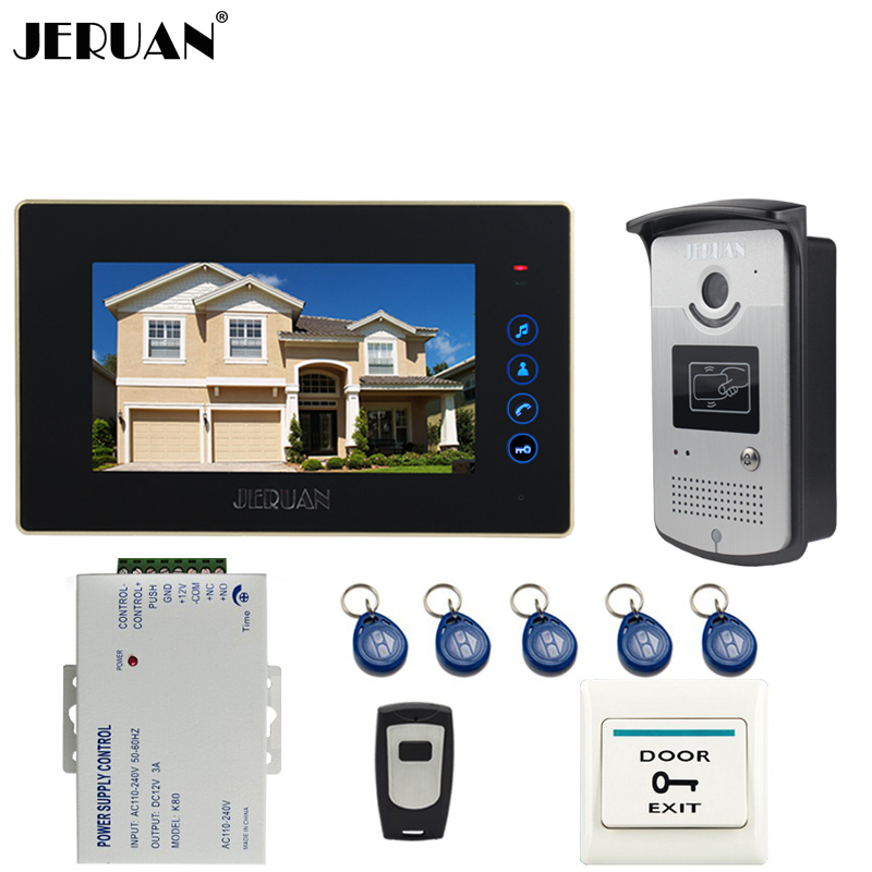 JERUAN 7 inch touch key Color Screen Video Door Phone Intercom System kit 1 Monitor +700TVL RFID Access IR Night Vision Camera jeruan home 7 lcd screen video door phone entry intercom system kit 700tvl rfid access ir night vision camera exit button