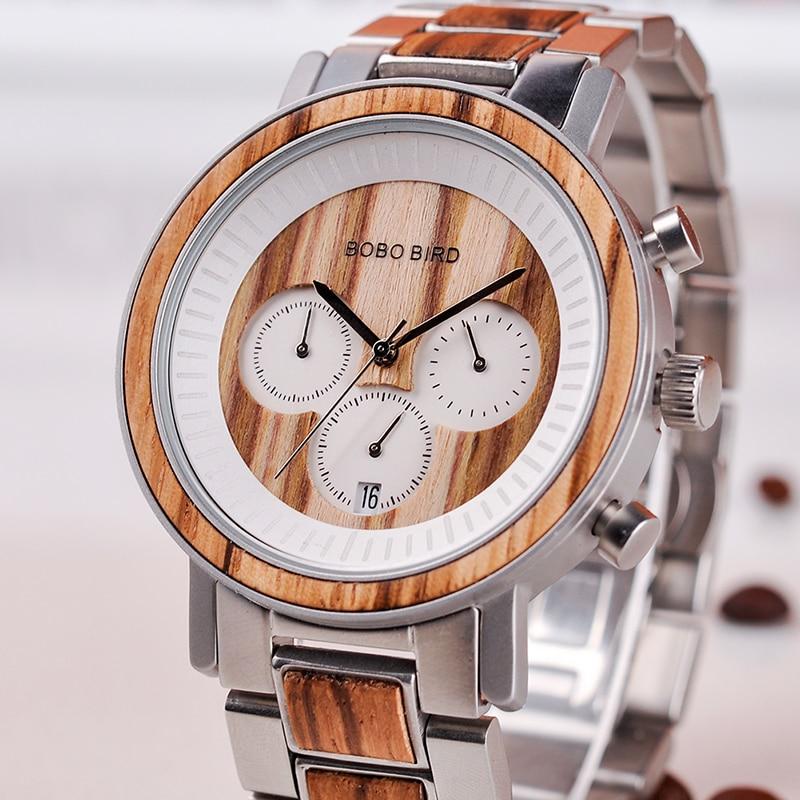 BOBO BIRD Watch reloj de pulsera de madera de calidad para hombre reloj de pulsera para hombre Fecha de regalo saat erkek relojes de Acero inoxidable y madera-in Relojes de cuarzo from Relojes de pulsera    3