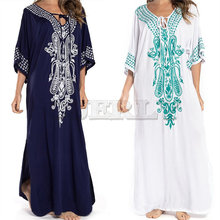 2019 Indie Folk Lace Up V-Neck Batwing Sleeve Summer Beach Dress Cotton Tunic Women Beachwear kaftan Maxi Robe Sarong N775