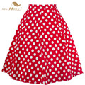 Short Blue Red Women Skirts Polka Dot High Waist Vintage Skirt Knee Length Skater Midi Skirt faldas mujer Plus Size VD0175