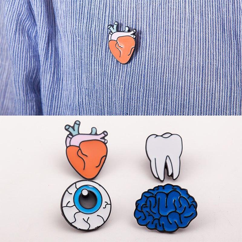 Мода 1 шт. Для женщин Мода глаз мозг сердце человеческих органов брошь воротник Булавки Jewelry Интимные аксессуары 4 стиля