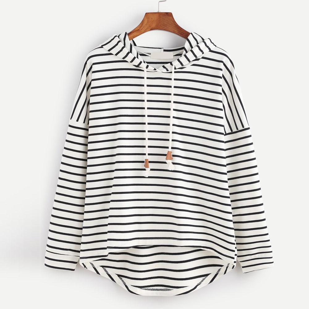 ZOGAA New Spring Autumn Casual Women Patchwork Striped Pullover Warm Long Sleeve Hoody Tops with Hat Pullovers Hooded Sweatshirt
