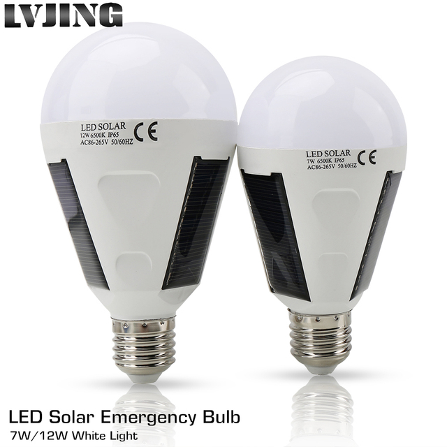 LED Charge Sensor Lamp Portable Outdoor Solar-Powered Light 12W 7W E27 Garden Camping Tent Fishing Solar Panel Emergency Bulb