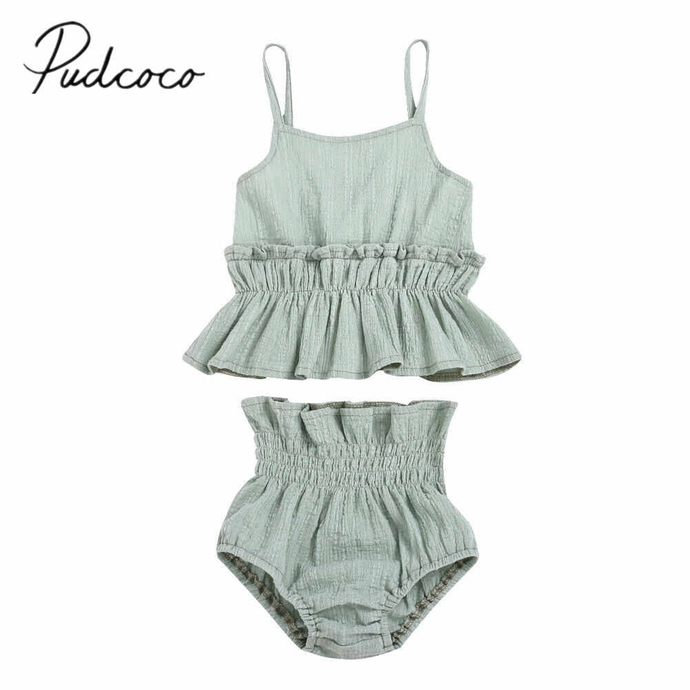 2019 Baby Summer Clothing 0-18M Cute Kid Baby Girl Cotton Clothes Sets Ruffle Seersucker Crop Tops Vest Shorts Casual Sunsuit