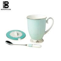 290ml British Style Ceramic Coffee Cup Office Black Tea Bone China Mug Spoon Cover Milk Fruit Juice Cups Drinkware Sent Friends