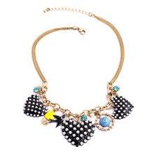 Feminine Daily Popular Jewelry 2015 New Arrival Casual Black Imitation Pearl Heart Necklace Pendant