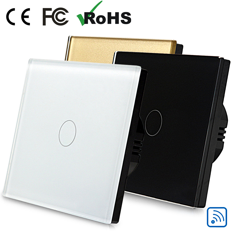 pretty upscale EU style dimmer switch 1 way 1 gang Toughened glass wall touch dimmer switch with led indicator single live line