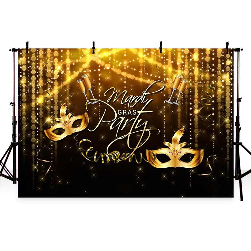Photographic background Classy carnival Masquerade ball party elegant golden diamond mask backdrop photocall professional custom