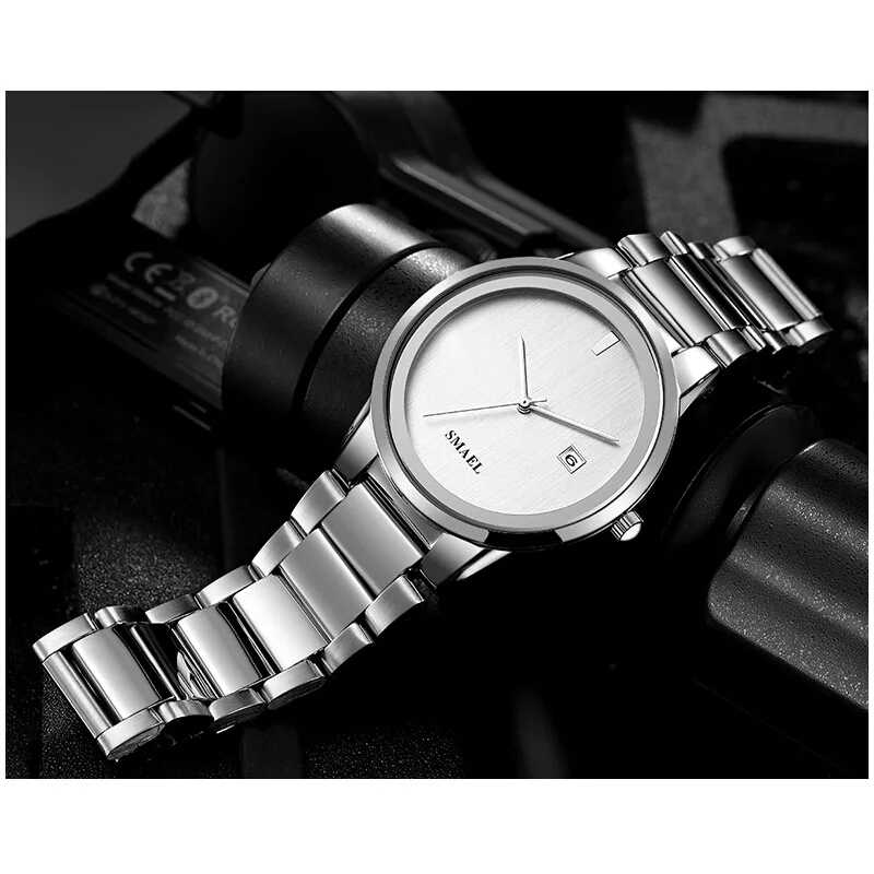 Smael relógio de quartzo para homens moda minimalista à prova dwaterproof água vestido analógico relógio simples designer luxo clássico dos relógios 9004 m
