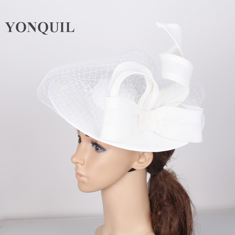 Large 30CM Round white fascinator base velling hair accessories women party wedding hat imitation sinamay birdcage veil headwear