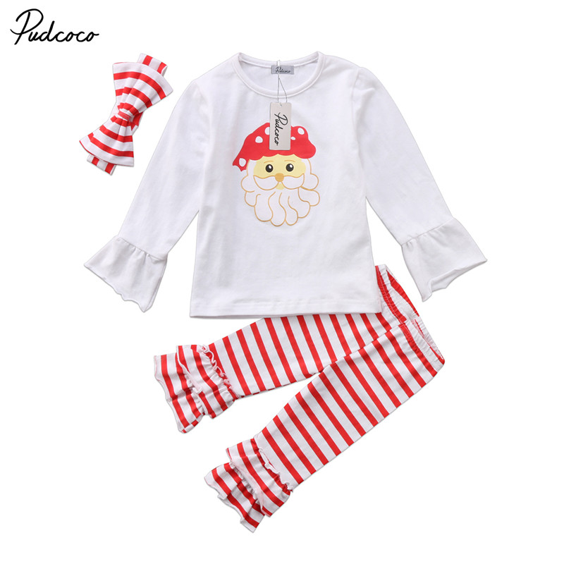 0 to 24M Newborn Kids Baby Girls Clothes Christmas Long Sleeve Tops Blouse +Pants +Headdress 3pcs Outfit Baby Clothing Set