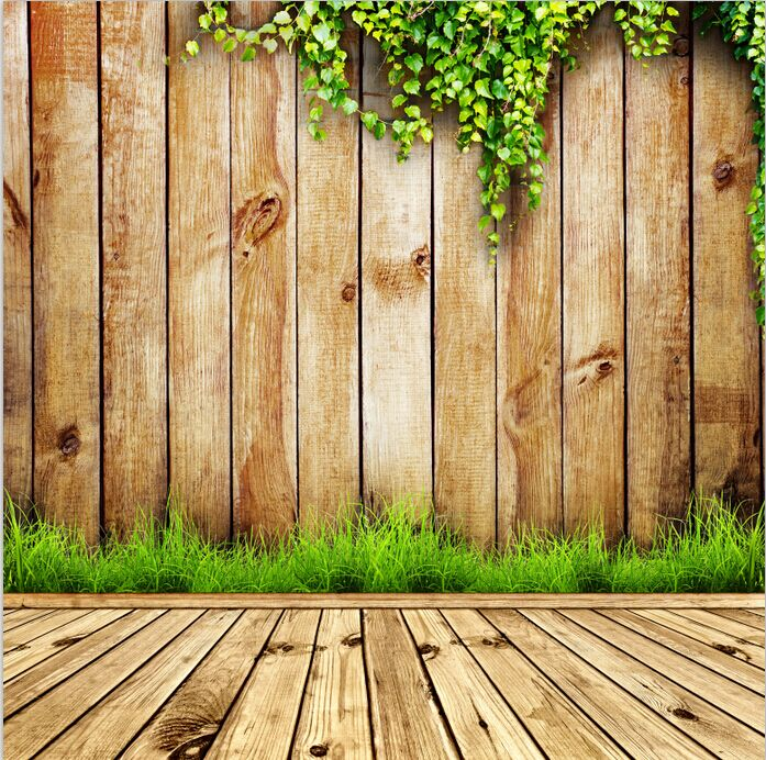 8x15FT Grape Vine Branch Brown Wooden Planks Wall Grass Wood Floor Custom Photo Studio Backdrops