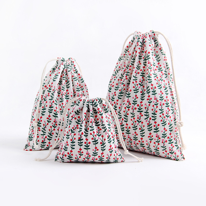 YILE 1pc Handmade Cotton Linen Drawstring Party Gift Bag Multi-purpose Pouch Print Plant Flower 8129j