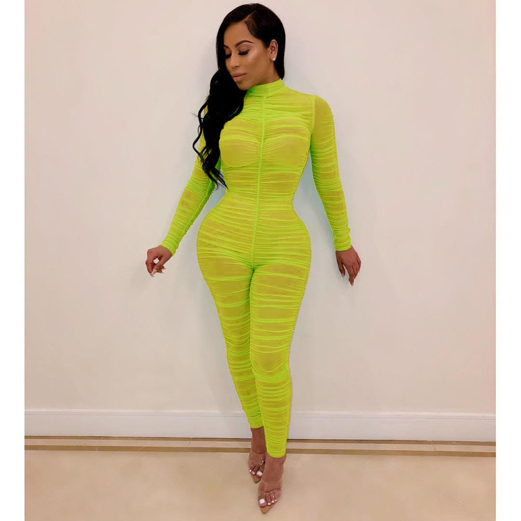 OMSJ Ruched Mesh Sheer Sexy   Jumpsuits   2019 Autumn Long Sleeve See Through Overalls Casual Nightclub Party Casual Women   Jumpsuit