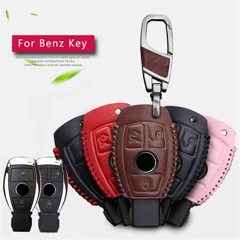 Genuine leather men car key bag case cover key holder for Mercedes benz key chain accessories