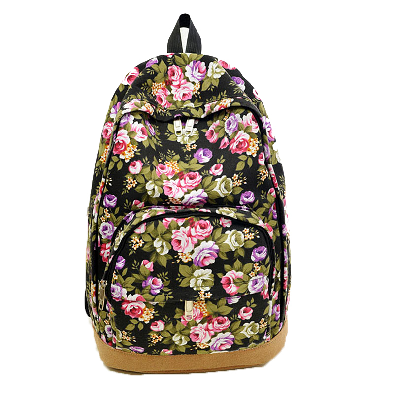 Floral Printing Women Backpacks Retro Vintage Canvas School for Teenage Girls Satchel Bags Mochilas Rucksacks