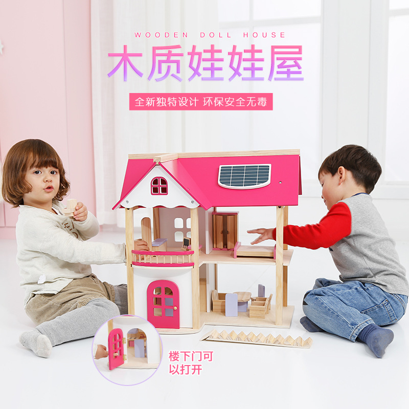 Pink princess doll house villa wooden cabin past family DIY puzzle assembly educational toy lol