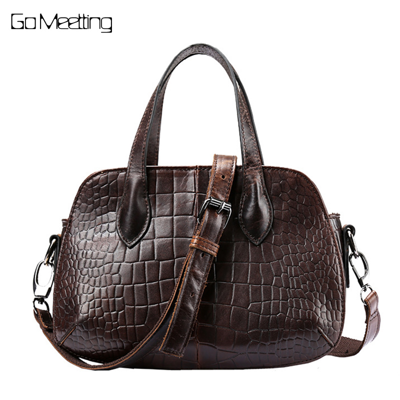 2018 Vintage Design Genuine Leather Women Small Handbags Shoulder Bag Chains Female Alligator Bag Cowhide Women Messenger Bags hahmes 100% genuine leather women saddle bags women fashion shoulder bag female vintage design small shoulder bag 23cm 10849