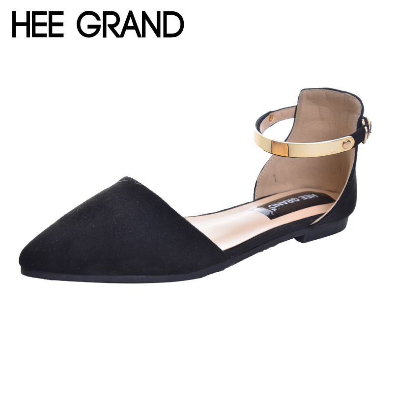 HEE GRAND Sandals Top Krean Style Ankle Strap Fashion Flat with Women's Shoes Pointed Toe Sandals Plus Size 34-42 XWZ2124 pu pointed toe flats with eyelet strap