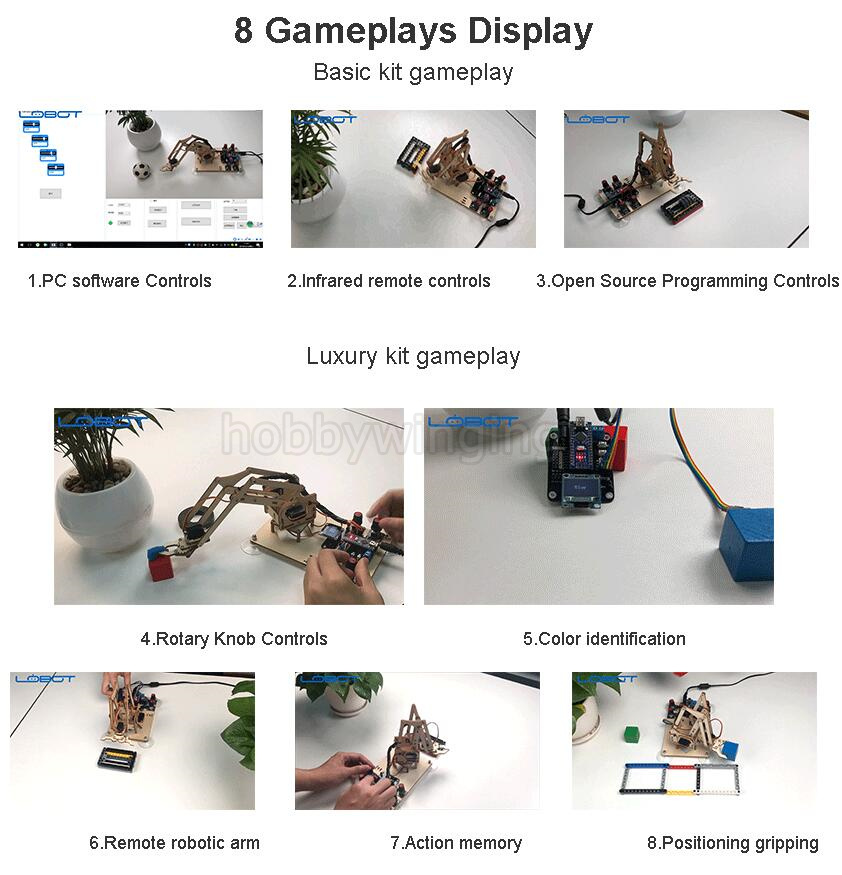 US $48 9 |Arduino secondary development Wooden Robotic Arm Powerful  Performance Robot Open Source Hand Arm Claw kit RC Toy-in Parts &  Accessories from