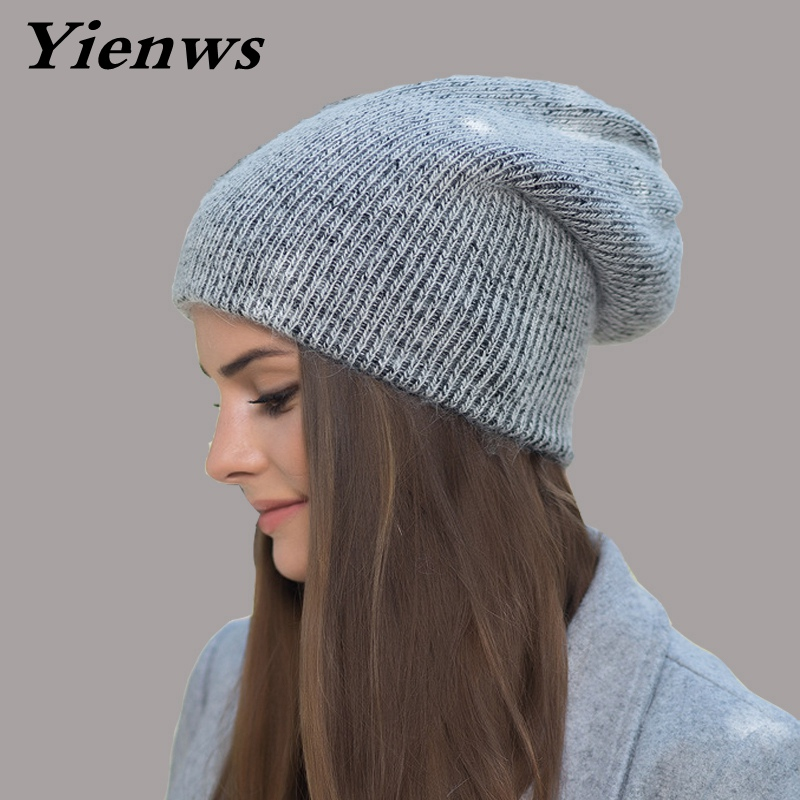 Yienws Women Autumn Winter Knitted Hat Girls Slouchy Beanie Hat And Caps Rabbit Fur Female Cuff Hats Hat Wool Skullies YIC567 adult beanie skullies rabbit fur ball shining warm knitted hat autumn winter hats for women