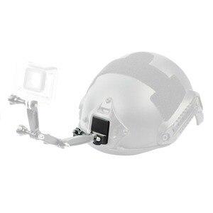 Image 4 - Alüminyum kask sabit montaj adaptörü ile uzun vida anahtarı kahraman 7 6 3 + 4 5 oturumu YI Sjcam spor kamera tabanı montaj tutucu