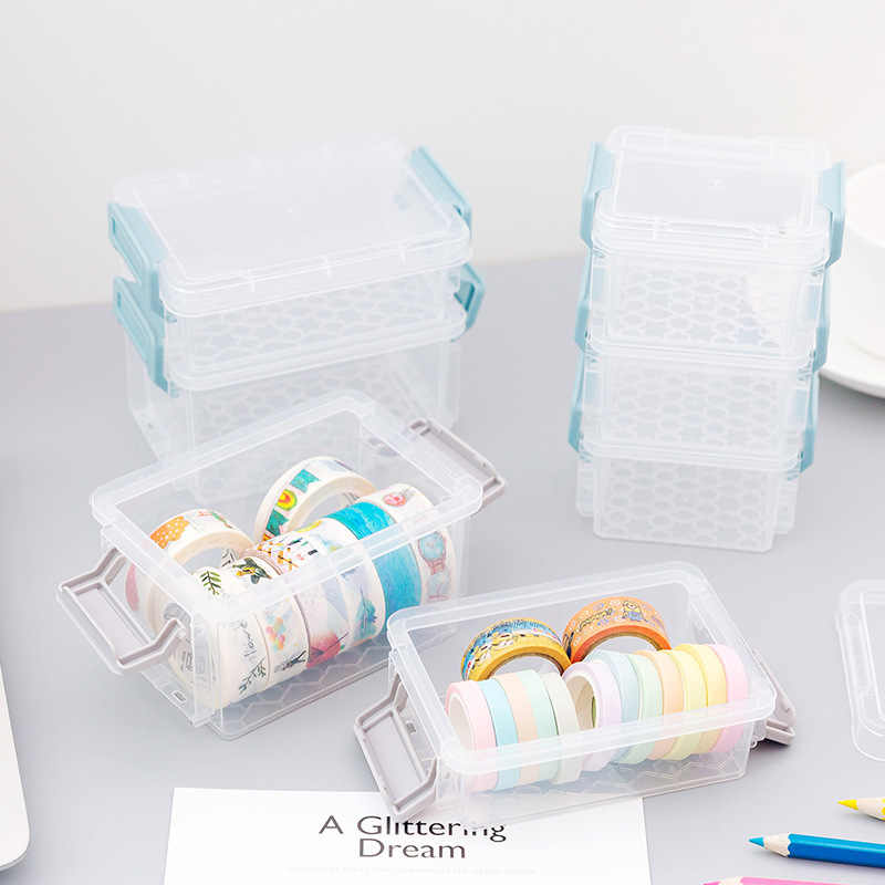Coloffice 1 PC Transparante Washi Tape Opbergdoos Desktop Briefpapier Houder Slijpen Gesp Stapelen Multi-layer Student Leveringen