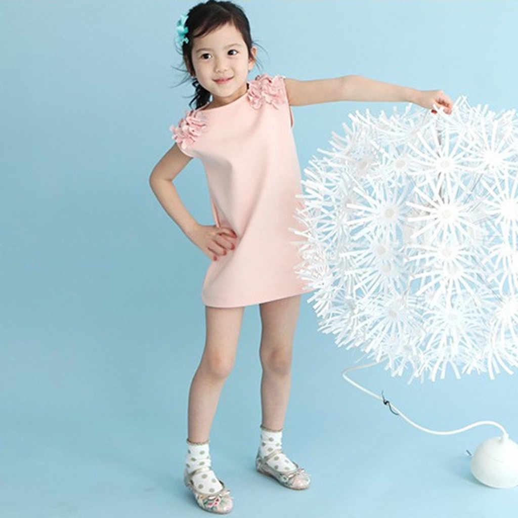 2019 ARLONEET חדש קיץ שמלת רשת בנות פעוטות ילדים תינוקת פרחוני מוצק שמלה מזדמן נסיכת המפלגה שמלה קיצית Z0205