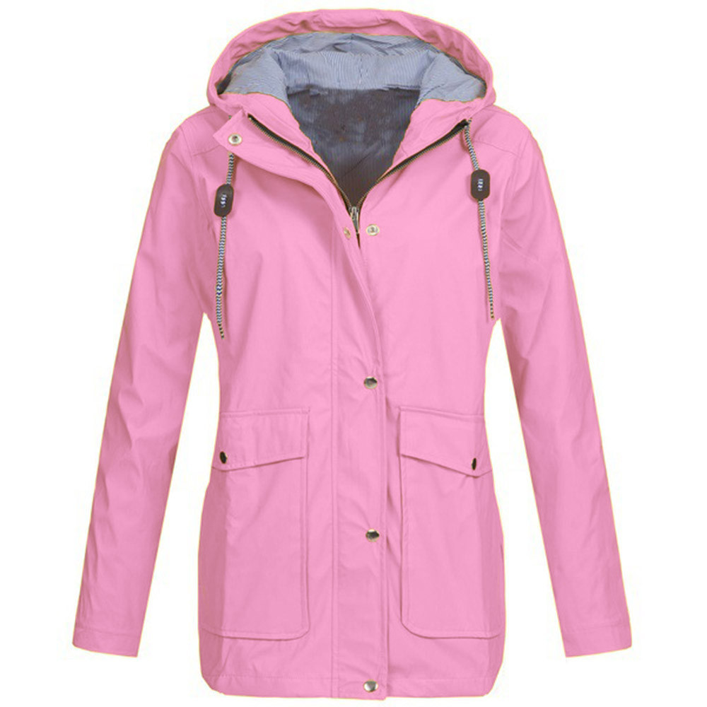 b32796d5ccd16 ISHOWTIENDA New Solid Rain Jacket Outdoor Plus Jackets Waterproof Hooded  Raincoat Windproof Winter Jacket Women Kurtka Zimowa