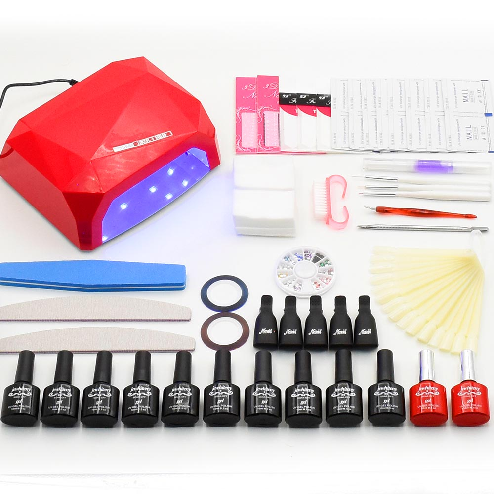 36W UV lamp LED for nails manicure set 6 colors nail gel polish soak off manicure lasting gel nail polish kit for nail art tools