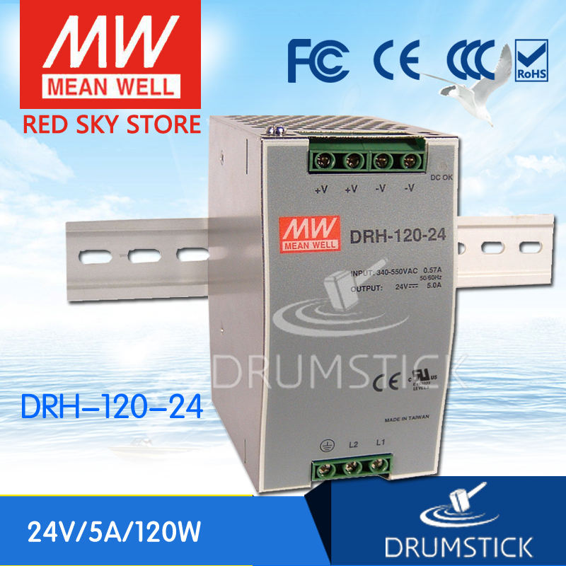 цена на (12.12)MEAN WELL DRH-120-24 24V 5A meanwell DRH-120 120W Single Output Industrial DIN RAIL Power Supply