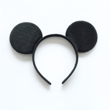 5pcs/lot Minnie Mickey Ear With Glitter Sequin Bow On Black/White/Red Stripe & Dot Headband For Girls Minnie Mouse Hairband
