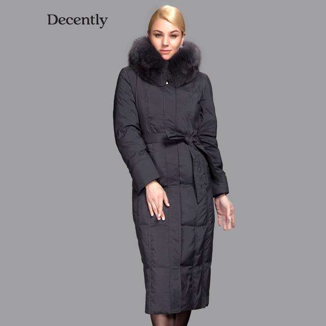 Decently 2015 Новинка пуховик женский пуховик зимний женский толстый парка женская пальто для старших женщин длиный лиса Мех куртка женская RUS Бесплатная Доставка 1B1333