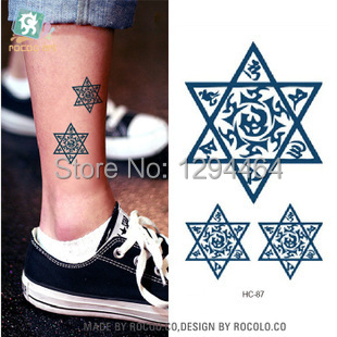 Hc1087 Pentagram Tattoos Ankle Tattoo Hand Waterproof Arm Body