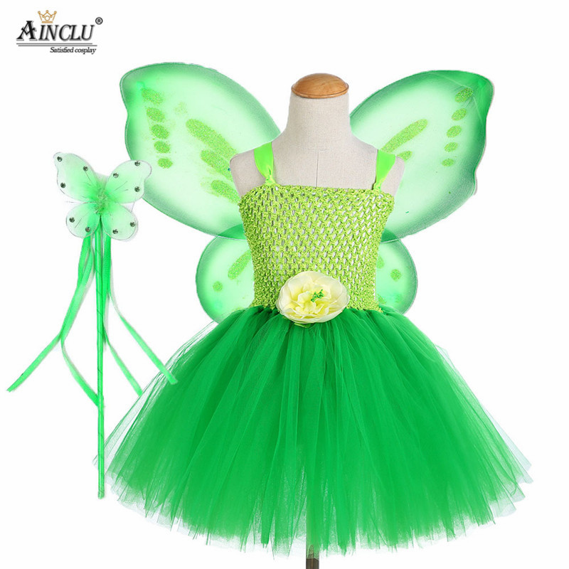 3PCS Cosplay Tinkerbell Magic Fairy Tutu Dress Up Princess Girl Birthday Party Dress Green Kids Halloween Costume With Wing