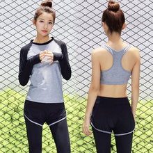 New Women Yoga suit Gym Body building Sports suit 3 in1 Yoga bra Long sleeeve Running Yoga t shirt Womens leggings Tracksuit