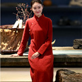 Chinese Style Hand-painted Cotton Jacquard Autumn Women Long Dress Cheongsam Qipao Dress Long Sleeve Chinese Gowns Robe