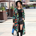 Gothic Women Coats Full Sleeve Print European Style Elegant Turn-down Fashion Novelty Belt Slim 2017 Spring Long Coat