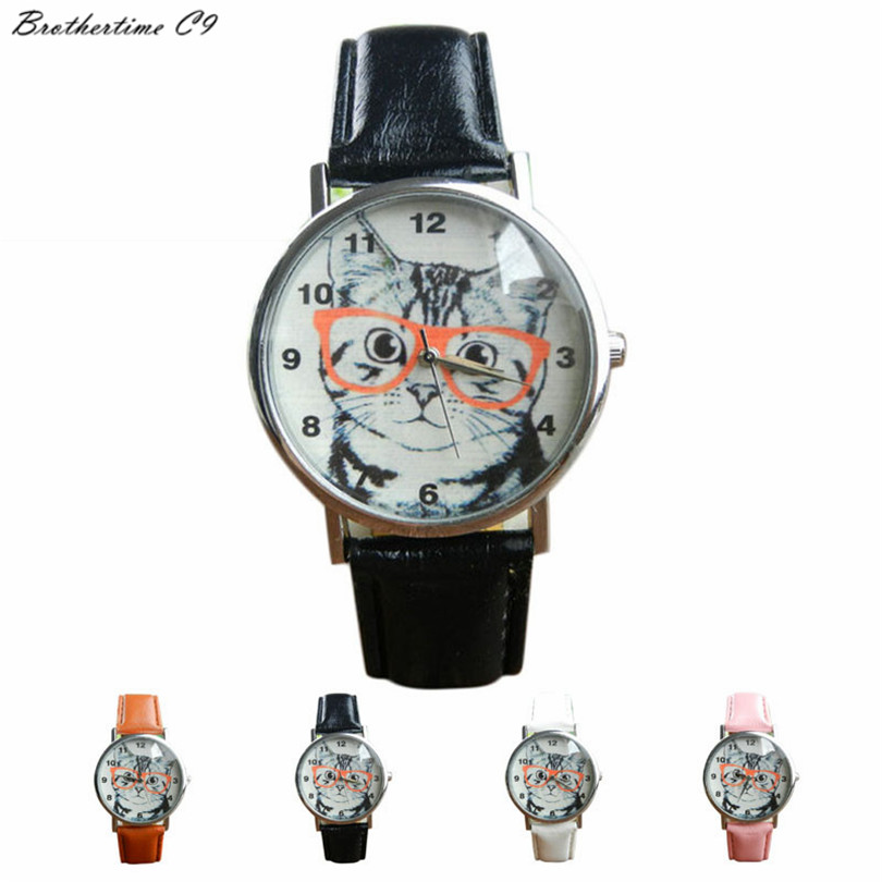 Brothertime C9 New Arrival Cat Pattern Leather Band Analog Quartz Vogue font b Dress b font