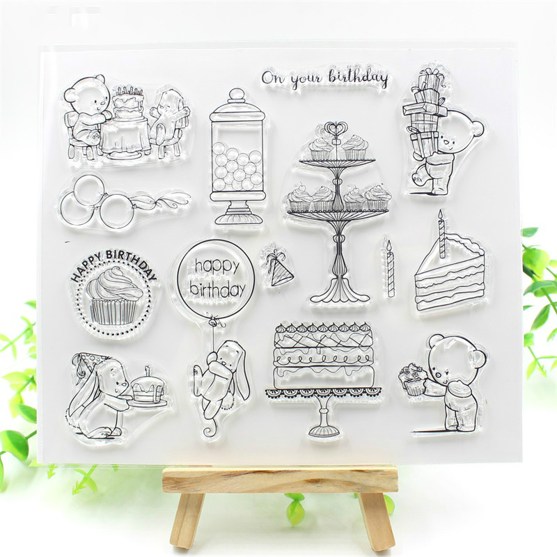 Happy Birthday Transparent Clear Silicone Stamps for DIY Scrapbooking/Card Making/Kids Christmas Fun Decoration Supplies 30 pcs lot christmas decoration christmas tree postcard landscape greeting card christmas card birthday card message gift cards