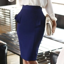95a49d2ea6 Customize plus size Womens high Waist Slit Peplum Pencil ruffles Skirt  Ladies Back Split Short Knee Length Midi Skirts