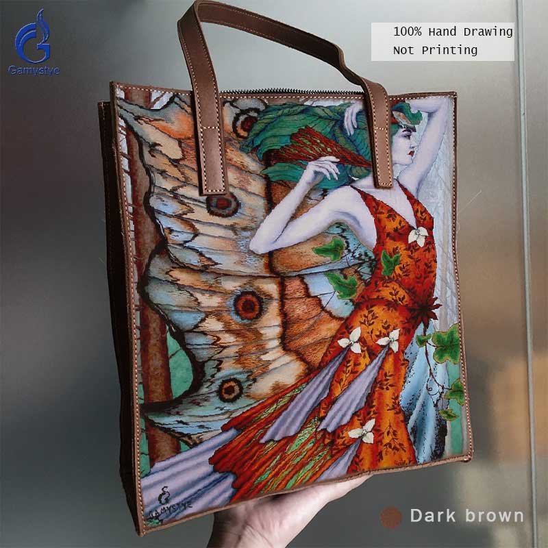 цена на New Grain Cowhide Leather Bag Women Handbag Genuine Leather Art Hand Drawing Bag Handbags Totes Oil Painted Print Butterfly elf