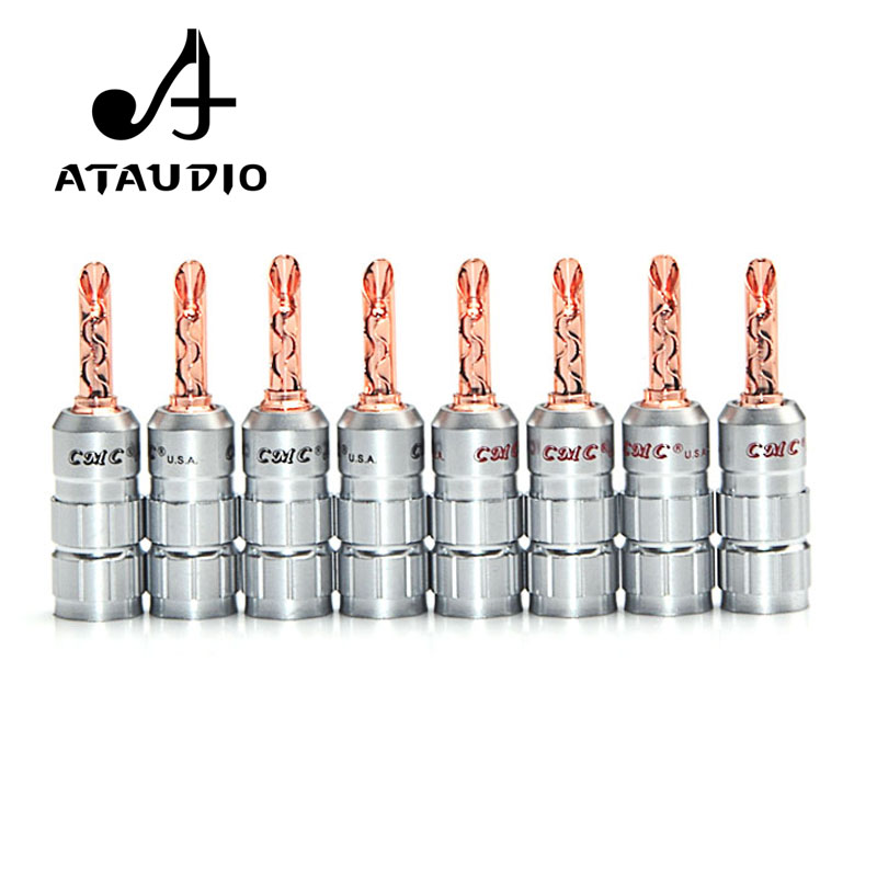 8pc ATAUDIO Hifi CMC Red Copper Banana Plug Hi-end Banana Jack No Soldering For Speaker Cable