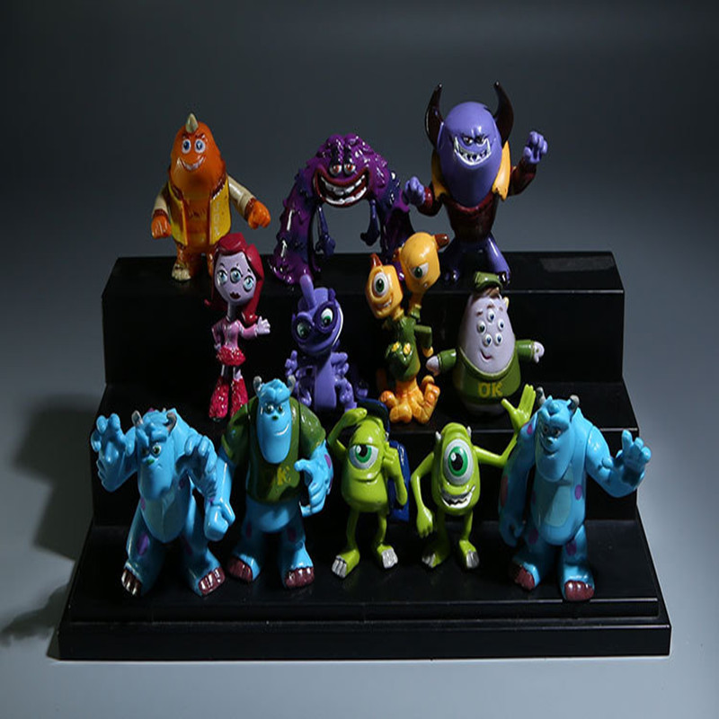 12pcs Monsters Inc. Monsters University Mike Sully Mini PVC Action Figure Toys Dolls Boys Toys Gifts Brinquedos Model Juguetes monsters inc